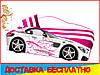Ліжко машина з матрацом Мерседес білий з рожевим