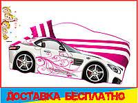 Кровать машина с матрасом Мерседес белый с розовым