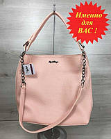 Классическая сумка-цепочка Пудра с черепашьим теснением (никель), женская сумка среднего размера кожзам