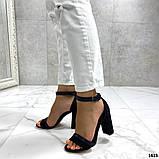 Женские босоножки на удобном устойчивом каблуке черные, фото 4