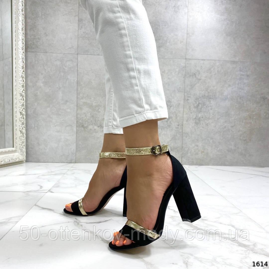 Женские босоножки на удобном устойчивом каблуке черные