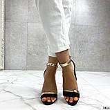 Женские босоножки на удобном устойчивом каблуке черные, фото 3