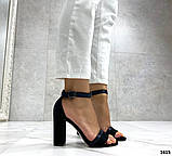 Женские босоножки на удобном устойчивом каблуке черные, фото 6