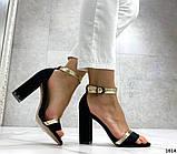 Женские босоножки на удобном устойчивом каблуке черные, фото 2