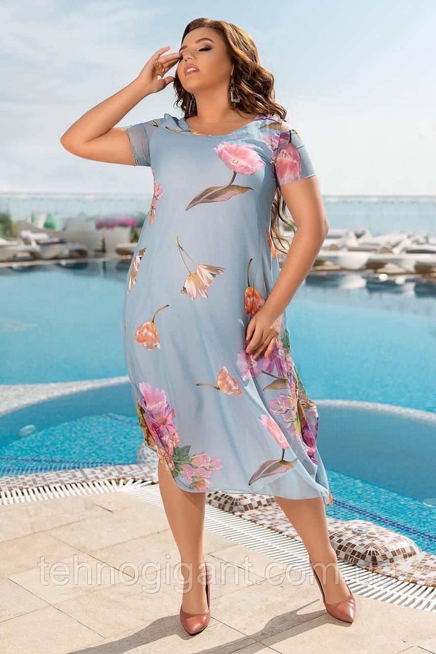 Нарядное летнее шифоновое платье больших размеров 50,52,54,56, голубое