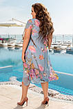 Нарядное летнее шифоновое платье больших размеров 50,52,54,56, голубое, фото 3
