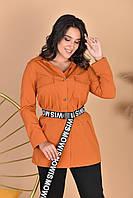 Женский летний костюм рубашка и лосины стильный комплект с поясом