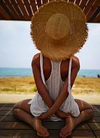 Шляпа женская Соломенная с бахромой и лентой ( соломенная шляпка с ленточками )