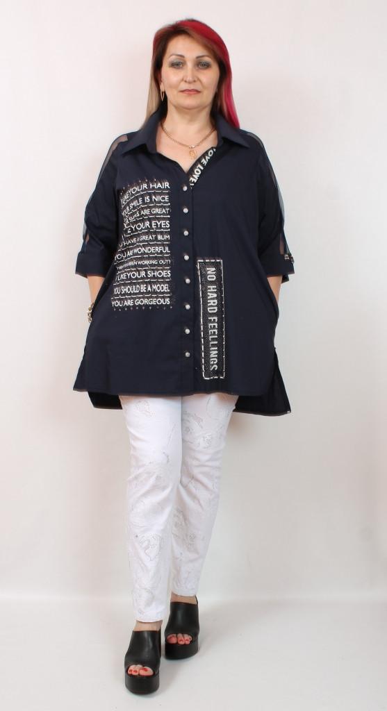 Турецкая летняя женская рубашка больших размеров 52-64