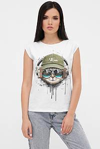 Жіноча біла футболка без рукавів з принтом (fup)