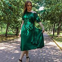 Плаття зелене трикотаж легке коктейльне