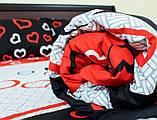 Комплект постельного белья  Бязь GOLD 100% хлопок Кошечки  сердечки Черно - красного цвета, фото 2
