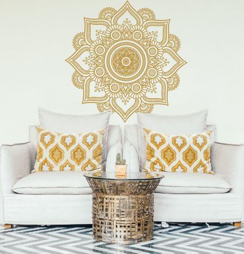 Наклейка на стену Ажурная мандала (мандала, менди, узор, индия, наклейка в изголовье кровати, декор йога)