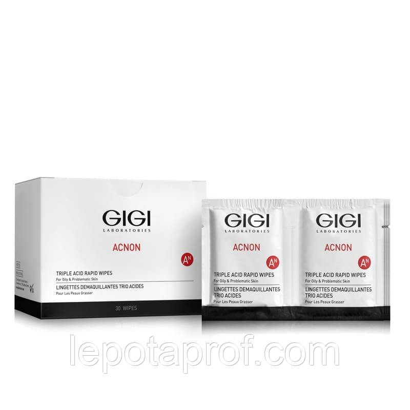 Салфетки-пилинг трехкислотные для лица GIGI Acnon Triple acid rapid wipes, 30 ml