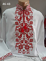 Рубашка вышиванка вышитая белая с красным