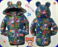 """Детская теплая куртка на синтепоне """"Микки 2"""" для девочки  с ярким цветочным принтом / синяя"""