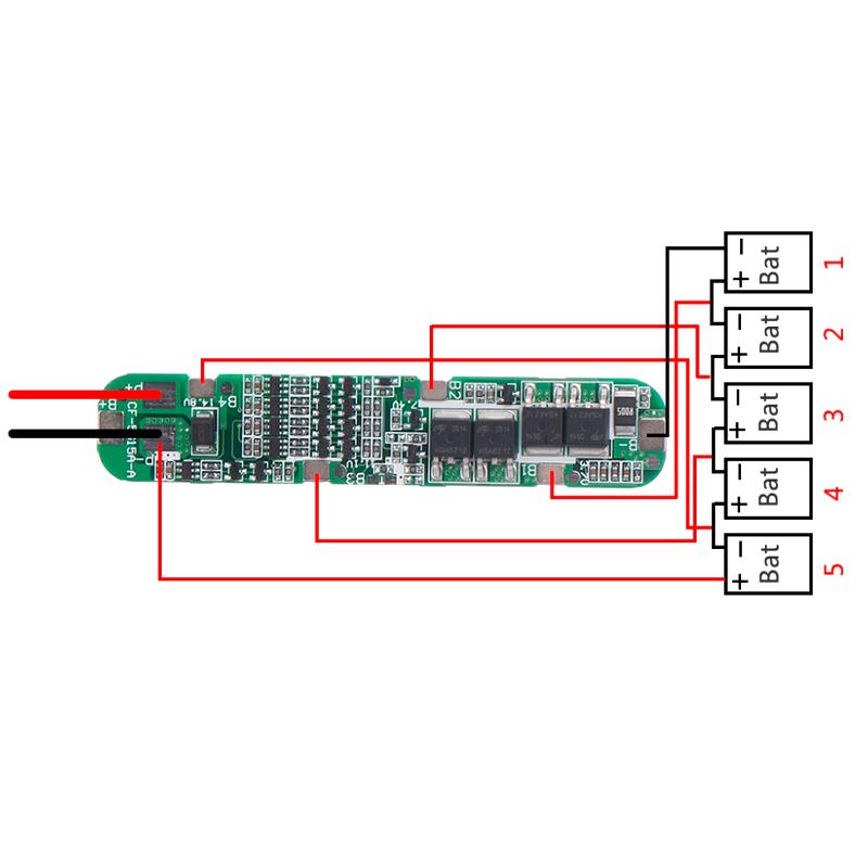 Плата захисту BMS 5S 15A 18-21 для Li-Ion 18650 одноряд.