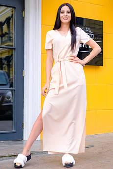 Летнее длинное платье Темми, персик