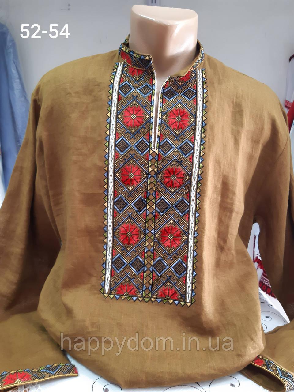 Рубашка вышиванка мужская вышитая горчичная