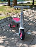 Трехколесный велосипед-самокат 3в1 JT музыкальный свет. колеса PU, серо-розовый, фото 2