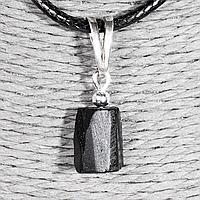 Кулон с шерлом черным турмалином, серебро, 12*8 мм., 1364КЛШ