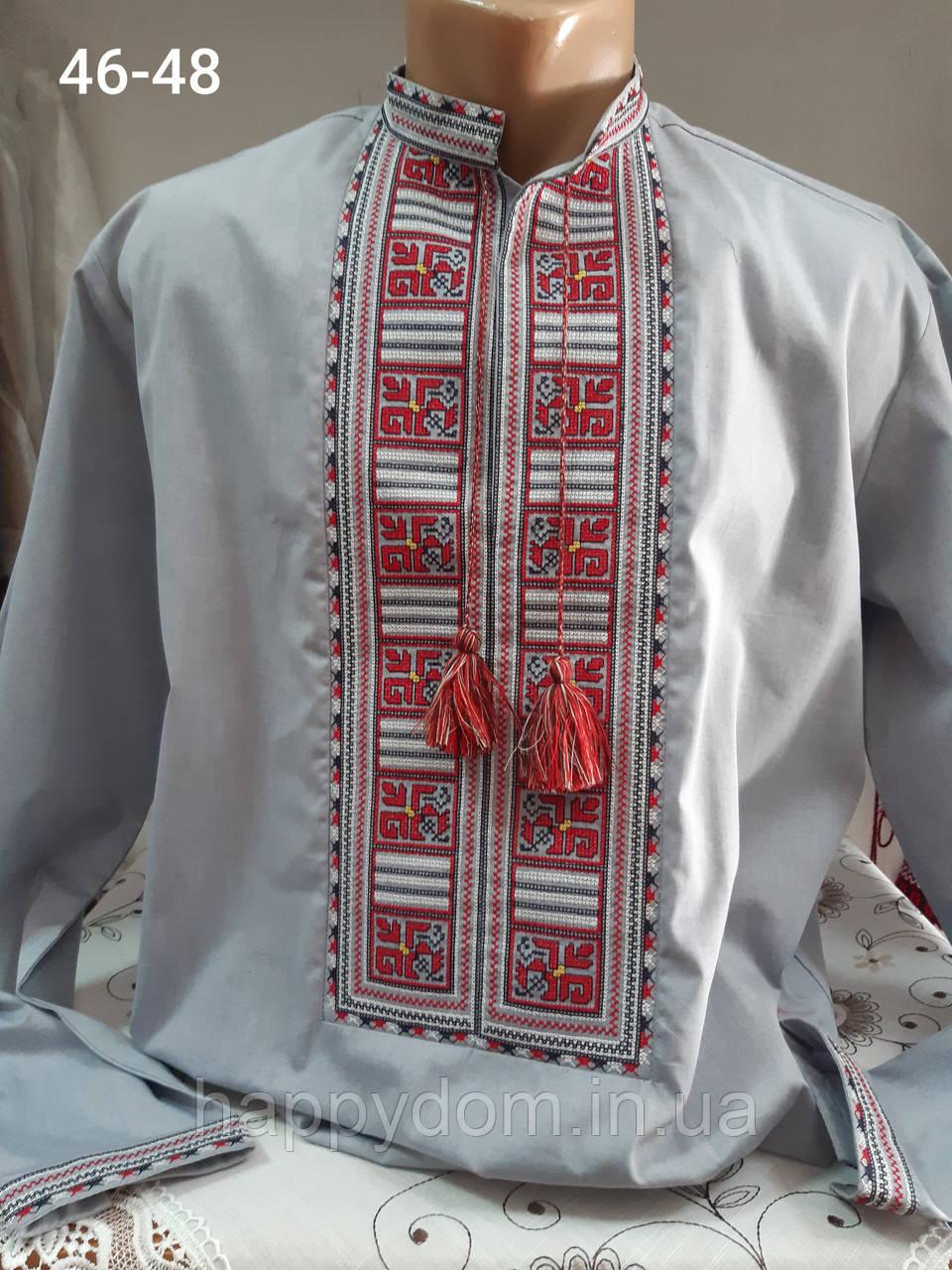 Рубашка вышиванка мужская серая