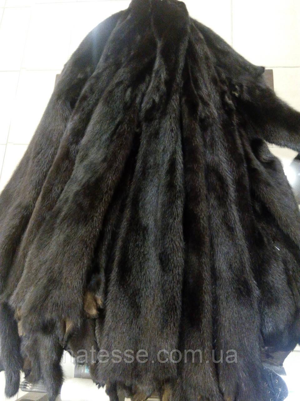 Шкури шкурки хутро норки самки чорні фарбовані (Данія) середній ворс, довжина 50-55 см