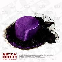 Фиолетовая шляпка мини с бантиком на заколках