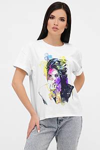 Жіноча біла футболка з принтом спереду (fup)