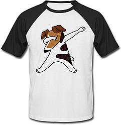 Футболка Fat Cat Jack Russell Terrier dog dabbing (белая с чёрными рукавами)