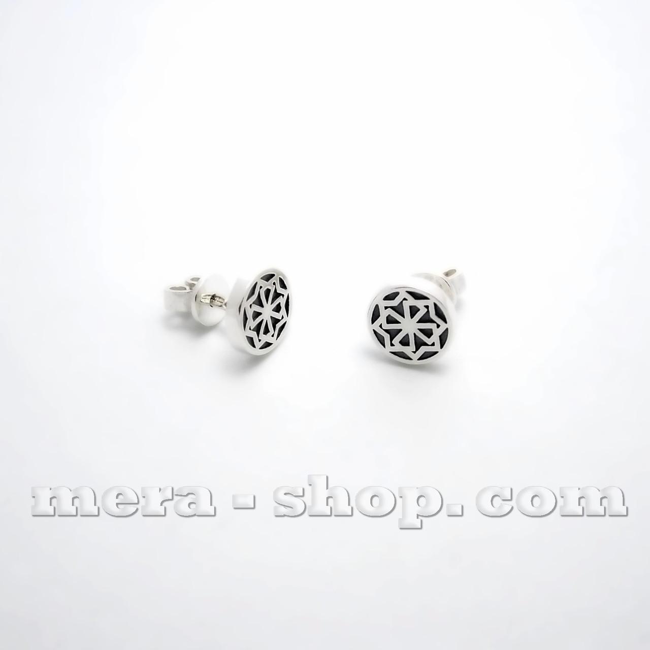 Молвинец серебряные серьги-гвоздики