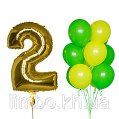 Шарики гелиевые на день рождения и шар цифра 2