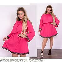 Нарядное однотонное женское платье с отделкой тесьма Размер: 50-52, 54-56, 58-60 Арт: 807