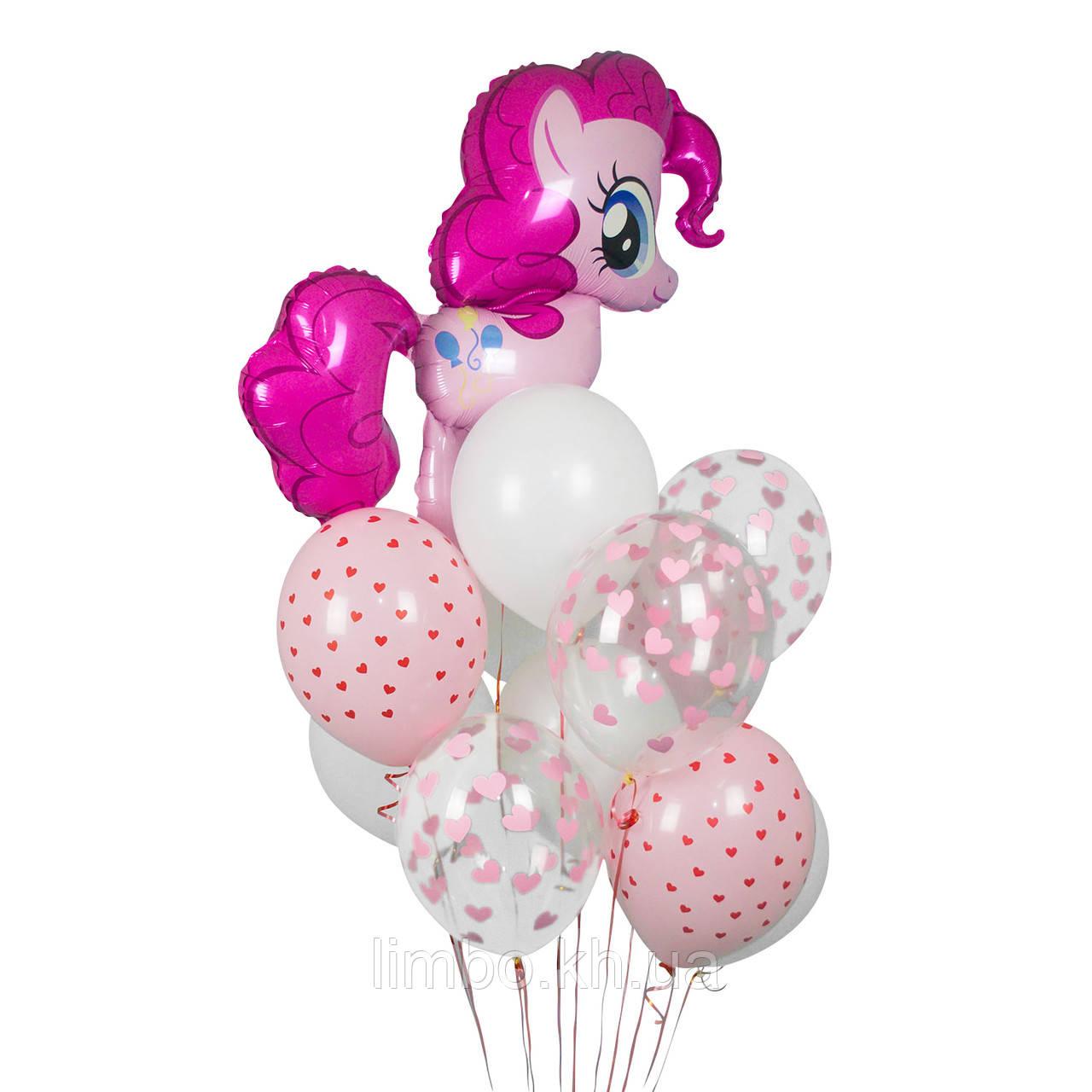 Розовые шарики на день рождения с фигурой  Пинки Пай