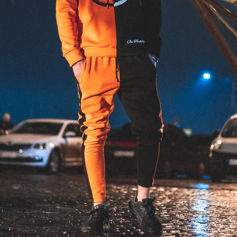 Спортивные штаны Be Happy черно-оранжевые ( только размер XS )