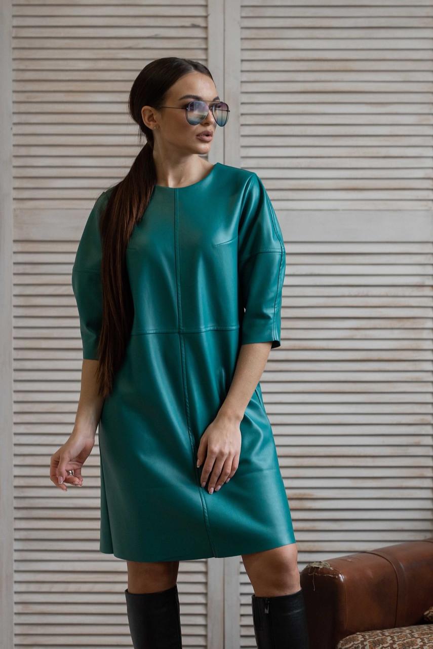 Бірюзове шкіряне плаття вільного крою. Розміри з 42 52