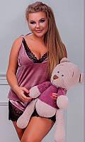 Бархатная пижама с кружевом большого размера
