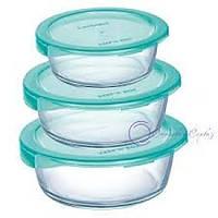Набор пищевых контейнеров с лазурной крышкой Luminarc KEEP'N' 3 шт (P7107)