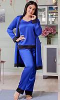 Шелковый комплект тройка: штаны, майка и халат БАТАЛ 82151-1