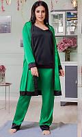 Шелковый комплект тройка: штаны, майка и халат БАТАЛ82151-2