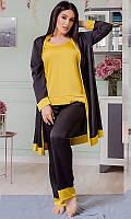 Шелковый комплект тройка: штаны, майка и халат БАТАЛ 48-62 р-ры в расцветках