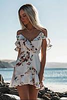 Платье женское летнее с цветочным принтом и спущенными плечами белое