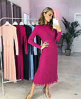 Трикотажное платье миди рубчик люкс качество