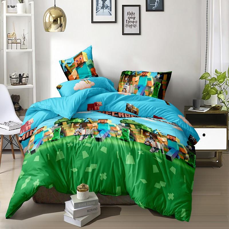 Подростковое постельное белье Односпальное 145х215 см Майнкрафт, Minecraft Ранфорс CottonTwill Турция