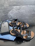 Мужские сандали кожаные летние черные-коричневые, фото 9