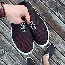 Черные слипоны мужские и унисекс аквашузы чорні сліпони чоловічі та жіночі сетка кроссовки, фото 3