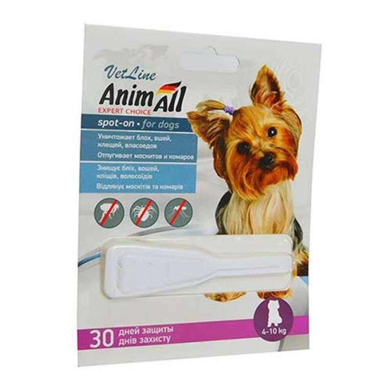АнимАлл AnimAll VetLine Spot-on краплі від бліх та кліщів для собак вагою від 4 до 10 кг, 1 піпетка х 2 мл