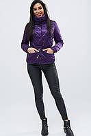 Женская демисезонная куртка с воротником стойка фиолетовая LS-8774-19