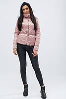 Женская демисезонная куртка с воротником стойка пудра LS-8774-21