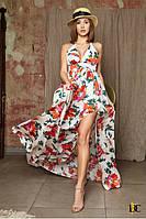 Легкое женское платье с глубоким декольте - Р 2543